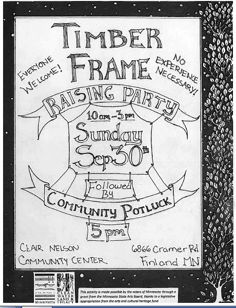 Poster for the Sept 30th Timber Frame Event