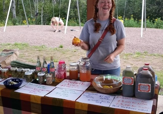 Honor Schauland at her Finland Farmers Market booth, Summer 2016