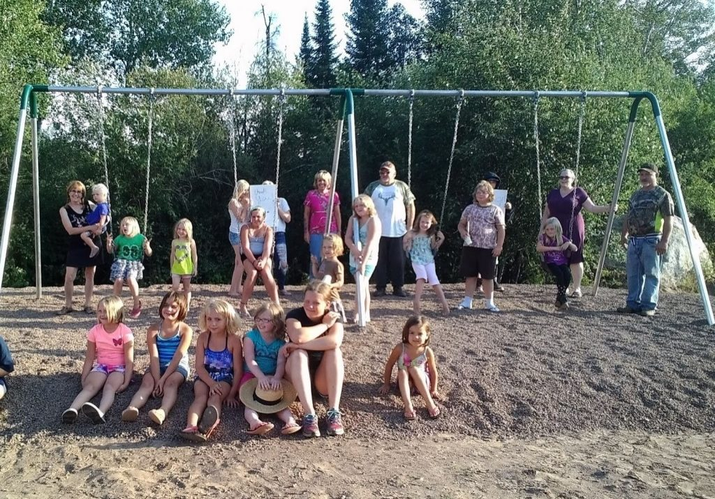 Whitetails Unlimited and Finland Community Youth Program with the new swingset, Summer 2015
