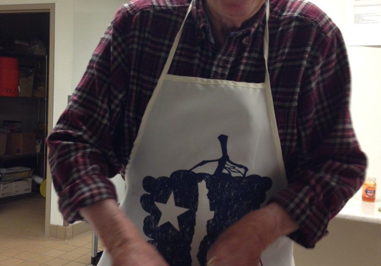 James Manahan makes dough for a cooking class, Fall 2014. (photo by Cristina Pi Caride Manahan)