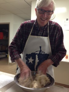 James Manahan makes dough for a cooking class, Fall 2014. (photo by Cristina Pi Caride Manahan)